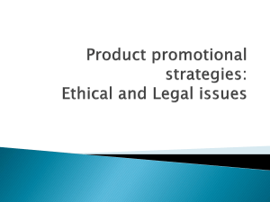 Product promotional strategies: Ethical and Legal issues