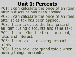 Unit 1: Percents