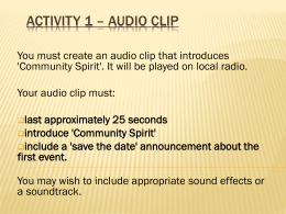 Activity 1 * Audio Clip - GCSE ICT