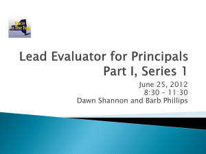 Lead Evaluator for Principals Presentation