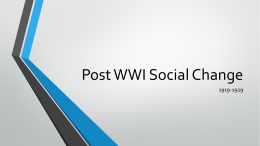 Post WWI Social Change