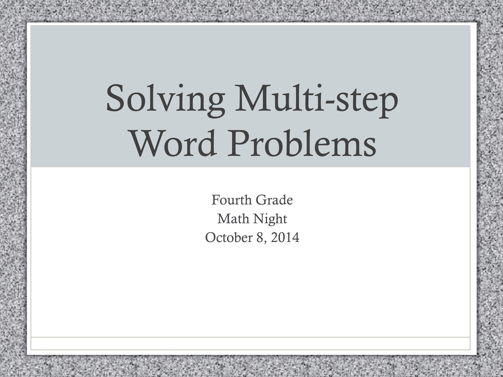Solving Multistep Word Problems Powerpoint