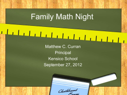 Family Math Night 2012 PowerPoint Presentation