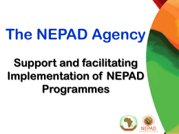 Support and facilitating Implementation of NEPAD Programmes