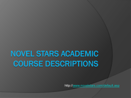 Novel Stars Academic Course Descriptions