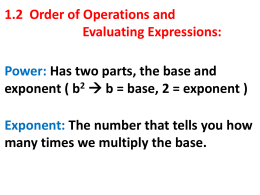 1_2 Order of Operations and Evaluation Expressions