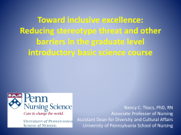 Towards inclusive excellence: Reducing stereotype threat and other