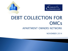 DEBT COLLECTION FOR OMCs 2014 Powerpoint