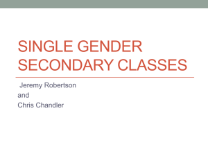 Single Gender Secondary Classes