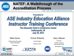 A Walkthrough of the Accreditation Process