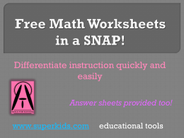 Free Math Worksheets in a SNAP!