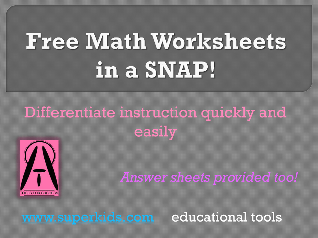 Free Math Worksheets In A Snap