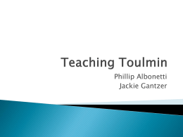 Teaching Toulmin - Tindley Accelerated Schools