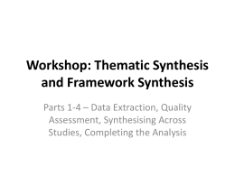 Workshop: Thematic Synthesis and Framework Synthesis