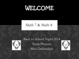 School Night PowerPoint - Math with Miss Dabbeekeh