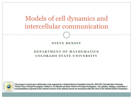 modeling cells - The Department of Mathematics at Colorado