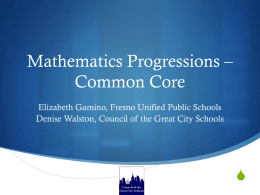 Mathematics Progressions – Common Core