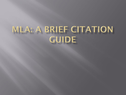 Introduction to MLA Citation PowerPoint