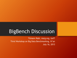 Introduction to BigBench