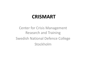 (CRISMART), Bengt Sundelius, Swedish National Defence