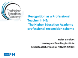 The Higher Education Academy professional recognition