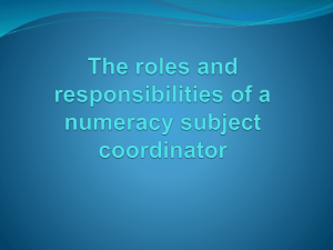 The roles and responsibilities of a numeracy
