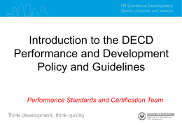 Introduction to the DECD Performance and Development Policy