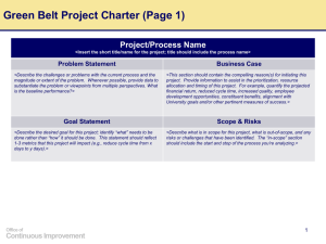 Green Belt Project Charter (Page 1)
