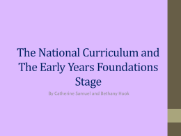 The National Curriculum and The Early Years