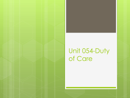 Unit 054-Duty of Care power point