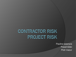 Contractor risk Project risk