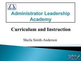 Administrator Leadership Academy Curriculum and Instruction