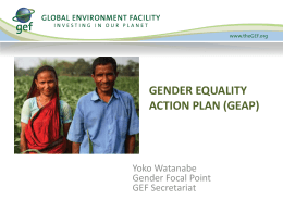 GEF Policy on Gender Mainstreaming