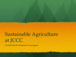 Sustainable Agriculture at JCCC
