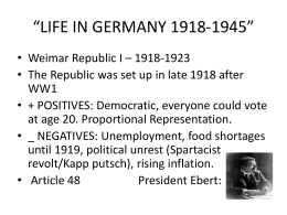 LIFE IN GERMANY 1918-1945