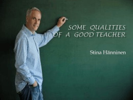 Some Qualities of a Good Teacher[1]