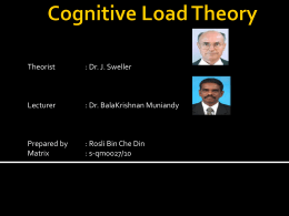 Cognitive load - Instructional Design & delivery / 2010 + Research