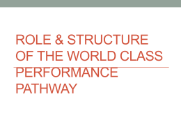 Role & structure of the world class performance