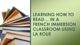 Learning how to read in a French Immersion