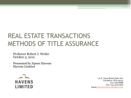 REAL ESTATE TRANSACTIONS METHODS OF