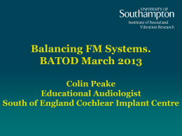 Balancing FM Systems. BATOD March 2013 Colin Peake
