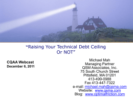 Raising Your Technical Debt Ceiling…Or Not?