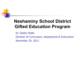 Neshaminy School District Gifted Education Program