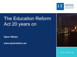 The Education Reform Act: 20 years on