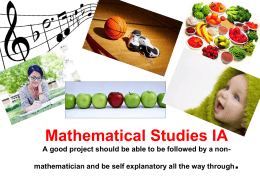Mathematical Studies IA