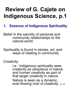 Review of G. Cajete on Indigenous Science, p.1