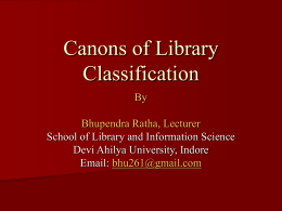 Canons of Library Classification - Library and Information Science