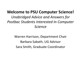 Welcome to PSU Computer Science!