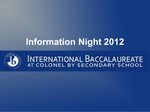 Information Night 2012 - Colonel By Secondary School