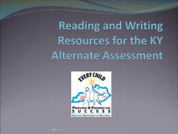 Resources for the KY Alternate Assessment